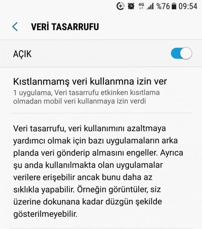 Android Nougat - Veri Tasarrufu
