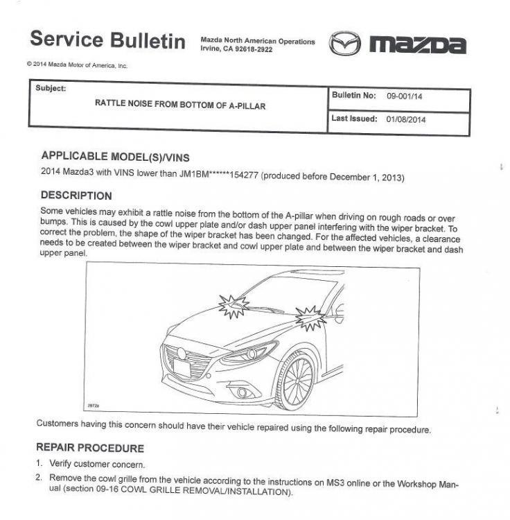 Mazda3 A Direk Tıkırtı Sesi - Servis Bülteni