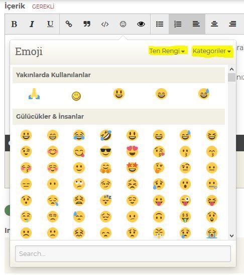 Emoji Ekleme